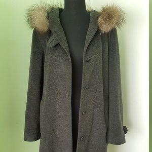 Ellen Tracy Gray Wool Coat w/ Fox Fur Trim Sz 8